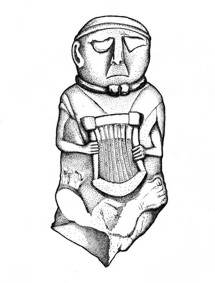 Stone effigy of Gaulish bard.